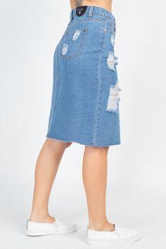 Distressed Front Slit Denim Skirt | KjSelections Dress Making, Denim Skirt, Zip, Skirts, Cotton, Fashion, Moda, Fashion Styles, Skirt