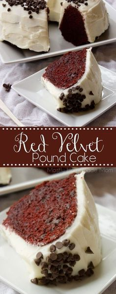 Red Velvet Pound Cake - This gorgeous cake starts with a cake mix - no one would guess! Filled with miniature chocolate chips and topped with homemade cream cheese frosting, this is a great dessert for Valentine's Day or any day!