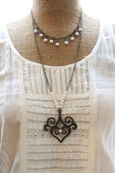 Vintage Inspired BIB necklace, Vintage Pearl necklace, Bronze Pearl ethnic necklace,Bronze Jewelry,Ivory Pearls,Rustic, Bohemian Bride,Gypsy. $45.00, via Etsy.