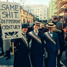 "Suffragette cosplay for the Washington Women's March! ""Same shit, different century."" My favorite statement from today. Women Rights, Feminist Af, Protest Signs, Protest Posters, Intersectional Feminism, Equal Rights, Social Issues, Belle Photo, Strong Women"