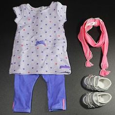 American Girl Recess Ready Outfit Dress Purple Leggings Pink Scarf ...