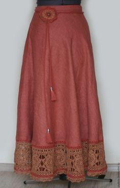 Льняная юбка с кружевом, юбка в пол, длинная юбка в бохо стиле, бохо, юбка из льна, юбки ручной работы, автор Юлия Льняная сказка