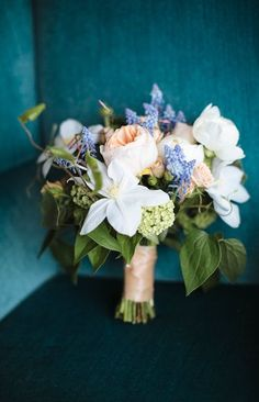 Clematis, garden rose & Muscari bouquet by Fleur, photo by Jaclyn Simpson Photography