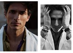 Andrés Velencoso Wears White Linen Blazer, Multifunctional Watch with Braided Leather Strap, Metal Bracelets - Massimo Dutti Men's Spring 2016 Collection