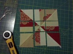 tutorial - NTM! - Pinwheel disappearing 4-patch using charm packs! by lynnie. Great new block!