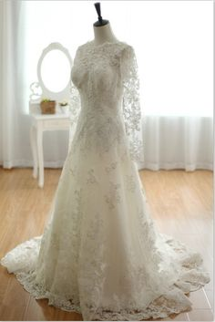 Long Sleeves Lace Wedding Dress V Back with Train by wonderxue, $489.00