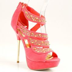 Women's Fashion Shoes in Pink with Gold Studs Rhinestone Heels : Shoes #sandals #heels #shoes #fashion