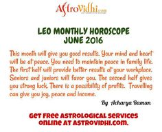 Leo Monthly Astrology Predictions - Read Leo Monthly horoscope from AstroVidhi. Check your Leo monthly love, career, business horoscope, & relationship compatibility in Monthly horoscope for Leo. Leo Monthly Horoscope, Horoscope Online, Relationship Compatibility, Astrology Predictions, Family Life, Workplace, June, Mindfulness, English