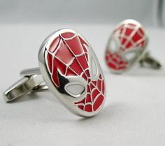 Mens Cufflinks- Spiderman Cuff Links Design, with a Gift Box on Etsy, $19.90
