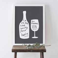 french wine bottle print