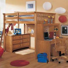 un lit mezzanine enfant en bois et une commode élégante