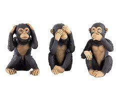 Set de 3 figuras decorativas en resina Mono