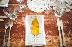 TABLE: a leaf, to tie in the 'tree' story. a hint of golden yellow, here and there.
