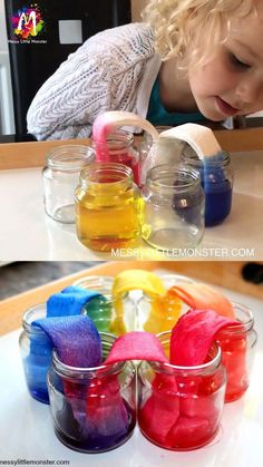 Rainbow walking water science experiment for kids. An easy science project for kids with free printable walking water worksheet. This walking rainbow experiment is perfect for preschoolers learning about colour mixing. Science Projects For Kids, Science For Kids, Summer Science, Science Fun, Earth Science, Science Centers, Physical Science, Recycling Activities For Kids, Science Projects For Preschoolers