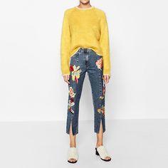 27.51$  Buy here - https://alitems.com/g/1e8d114494b01f4c715516525dc3e8/?i=5&ulp=https%3A%2F%2Fwww.aliexpress.com%2Fitem%2Fskinny-jeans-woman-Denim-split-cut-out-Women-winter-pantalon-femme-jean-embroidery-floral-blue-vintage%2F32770480112.html - skinny jeans woman Denim split cut out Women winter pantalon femme jean embroidery floral blue vintage ripped slim trouser pants 27.51$