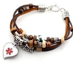 This bohemian leather medical ID bracelet is stylish and practical. The leather bracelet is beaded and has a cute heart charm which can be engraved with your medical information. Comes in a gift box.