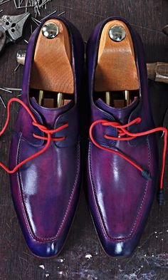 Mens Luxury Shoes : TucciPolo Ravenna Mens Lace-up Italian Leather Luxury Purple Handmade Shoe
