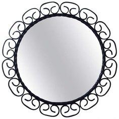 1960s Mid Century Wrought Iron Wall Mirror