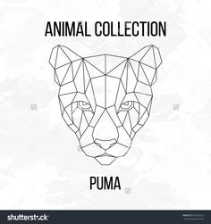 Geometric animal puma head line silhouette isolated on white background vintage design element vector illustration - Logos Geometric Drawing, Geometric Lines, Geometric Animal, Background Vintage, Background S, Motif Jungle, Happy New Year Text, Stylo 3d, Modern Tattoos