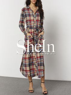 Plaid Belted Pockets Side Slit Shirt Dress 18.99