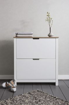 Shoe Storage Cabinet Cupboard with 2 Drawers Tromso in White & Natural