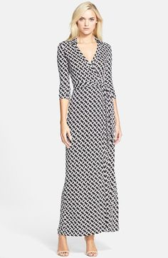 Free shipping and returns on Diane von Furstenberg 'Abigail' Print Silk Maxi Wrap Dress at Nordstrom.com. A bold chain-link print covers a flattering, floor-grazing maxi incarnation of Diane von Furstenberg's signature wrap dress, spun from soft silk jersey and styled with a smart point collar and three-quarter-length sleeves.