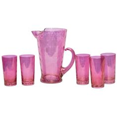 Stunning 1940s Vintage Pink Draping Iridescent Pitcher & Glasses Set, Available at The Hour Shop & TheHourShop.com ~ curated cocktail glassware & barware for the modern home bar.