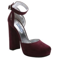 Prada Burgundy suede ankle strap platform pumps ($635) ❤ liked on Polyvore featuring shoes, pumps, burgundy, ankle strap high heel pumps, leather pumps, prada pumps, block heel pumps and metallic pumps
