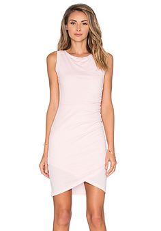 Bobi Supreme Jersey Crossover Ruched Dress in Bae   REVOLVE