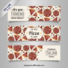 Italian pizza banners Free Vector Pizza Pictures, Good Pizza, Vector Free, Dinner, Invitations, Food, Summer, Italian Party Decorations, Flags