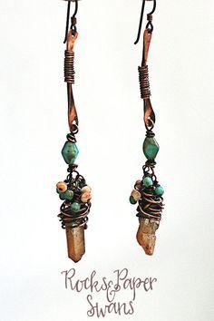 pale orange quartz dagger gypsy earrings by rocksandpaperswans
