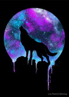 Space Howl by Lou Patrick Mackay Wolf painting Animal art Galaxy wolf
