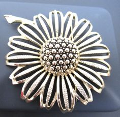 Sarah Coventry  Sunflower Brooch c 1950 by myabbiesattic on Etsy, $14.99