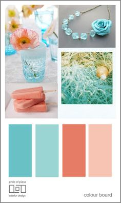 Coral & Teal <3 this color scheme! The first and the third colors are my room right now