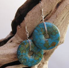 Turquoise stone earrings handmade by Bethany Rose Designs. See more handcrafted jewelry at www.BethanyRoseDesigns.etsy.com