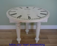 """""""Vintage"""" clock table shared by Follow Your Heart Woodworking at the Knick of Time Tuesday Party."""