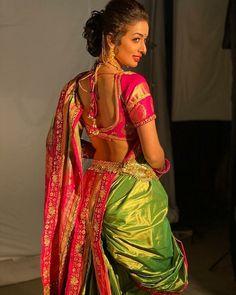 Only for lovers ❤️❤️❤️ . Kashta Saree, Sari, Indian Beauty Saree, Indian Sarees, Muslim Wedding Photos, Marathi Saree, Marathi Wedding, Nauvari Saree, Indian Photoshoot