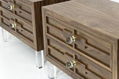"Bring style and function to your bedroom with this elegant walnut side table, featuring 7"" Lucite block legs and our crystal knob drawer pulls. 34"" Wide / 20"" D"