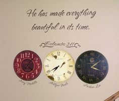 Clocks for the time of each childs' birth. - wow, this is beautiful! I like the idea of using the verse for it