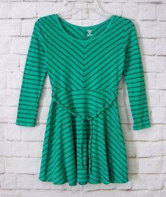 Girls OLD NAVY Green Striped Empire Waist Belted Jersey Knit Dress Size Medium 8 #OldNavy #StPatricksDayEverydayHoliday