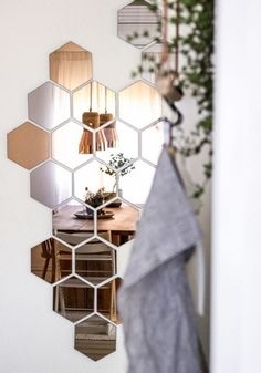 miroir design original, miroirs hexagonaux muraux