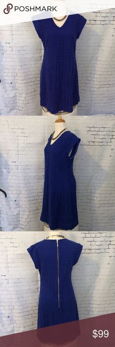 """New Kate Spade Royal Blue Eyelet Dress Size 8 It measures: Shoulders 18.5"""", pit to pit 19""""', waist 17"""", hips 21"""" and length 35.5"""".  All measurements taken laying flat. kate spade Dresses Mini"""