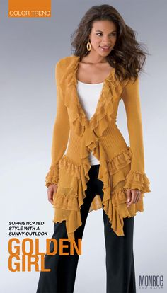 Indulgent Ruffles Sweater from Monroe and Main.  Fashion Fit for You in Misses & Plus Sizes.  www.monroeandmain.com