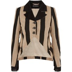 Ann Demeulemeester Striped fleece wool-blend and canvas blazer ($1,190) ❤ liked on Polyvore featuring beige and ann demeulemeester