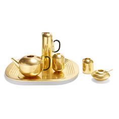 Tom Dixon brass form tea set.