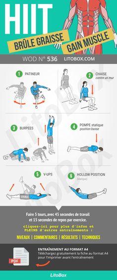 HIIT   Brûle graisse et renforcement musculaire (entraînement sans  matériel) Programme Renforcement Musculaire c7b36c0f58d