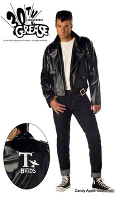 8961a54f1 Adult Grease Danny Costume Now you can be the one she wants in true  fashion! This Adult Grease Danny Costume includes a black jacket with a