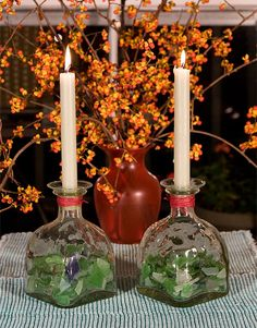 Patron bottle sea glass candle holder