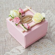 Set of 50 Sweet Pink Favor Box With Pretty Flwers(Tag Not Inlcuded) – GBP £ 69.59