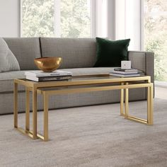 Ogrady Sled 2 Piece Nesting Tables Coffee Table Rectangle, Large Coffee Tables, Glass Top Coffee Table, Small Tables, Brass Coffee Table, Sofa End Tables, Dining Chair, Table Seating, Bronze